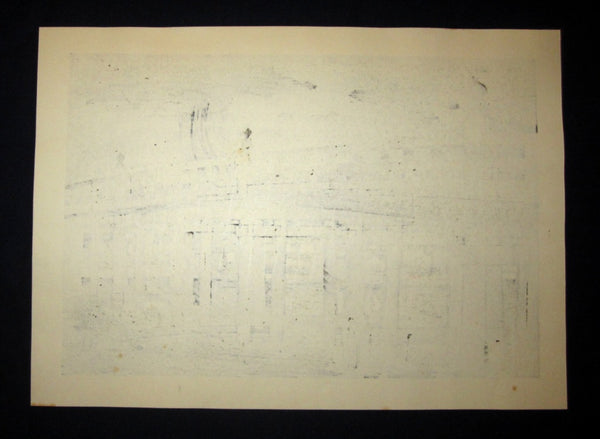 A Huge Orig Japanese Woodblock Print LIMIT# PENCIL Sign Nishijima Kazuyuki Seta Night Rain New Eight View of Omi