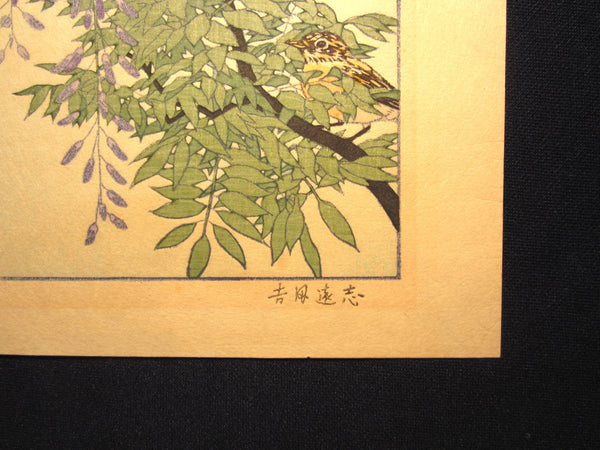 Original Japanese Woodblock Print Toshi Yoshida Franklin Gallery Tokyo AUTHENTICATION CERTIFICATE Bird