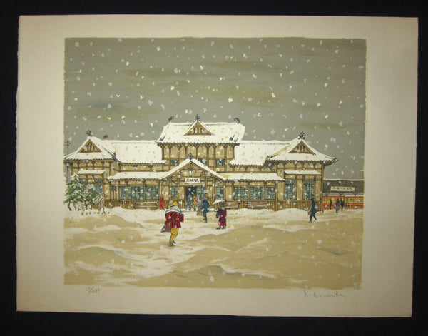 "This is a Huge very beautiful, unique and limited-number (57/285) original Japanese woodblock print ""Snow at Train Station"" PENCIL SIGNED by the famous Showa Shin-Hanga woodblock print master K. Tomita made in 1970s IN EXCELLENT CONDITION."