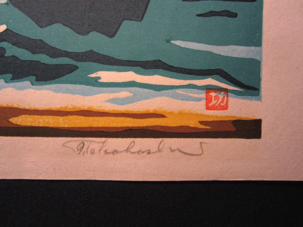 A Extra Large Orig Japanese Woodblock Print Limited # PENCIL Sign Takahashi Lighthouse