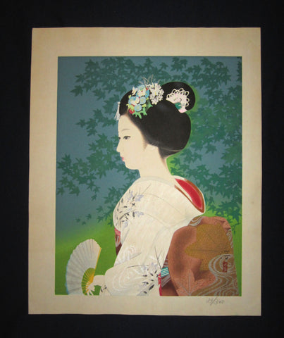 "This is a HUGE, beautiful, and special ORIGINAL Japanese Shin Hanga woodblock print ""Maiko"" signed by the famous Japanese Shin Hanga woodblock print Master Jun Nakao (1917– 2008) made in Showa Era IN EXCELLENT CONDITION."