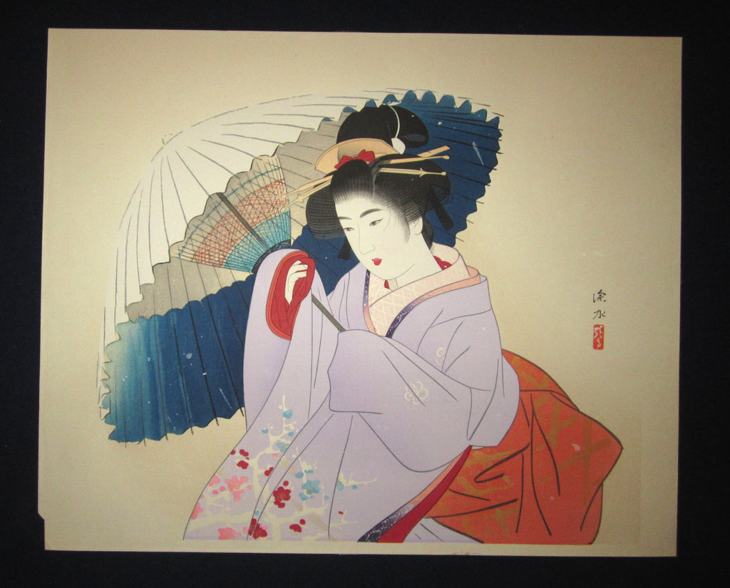 "This is a HUGE very beautiful, and special original Japanese woodblock print ""Early Snow"" signed by the famous Taisho/Showa Shin Hanga woodblock print master Shinsui Ito (1898-1974) made in Showa Era (1925~1987) IN EXCELLENT CONDITION."