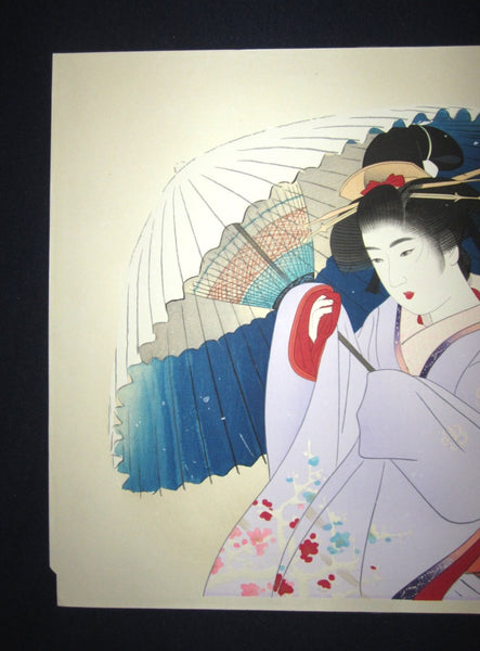 A Huge Original Japanese Woodblock Print Ito Shinsui Bijin-ga Early Snow