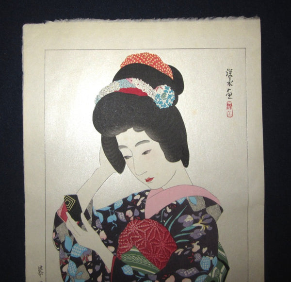 Orig Japanese Woodblock Print Ito Shinsui Bijin-ga Makeup May Taisho 14, 1926