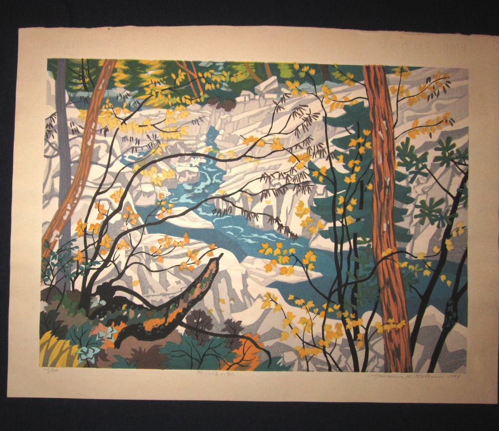 "This is a HUGE very beautiful LIMITED NUMBER (115/120) ORIGINAL Japanese Shin Hanga woodblock print ""Creek Autumn "" PENCIL SIGNED by the famous Showa Shin Hanga woodblock master Kitaoka Fumio (1918-) with two artist's original WATERMARK made in 1982 IN EXCELLENT CONDITION."
