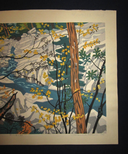 A Huge Orig Japanese Woodblock Print Kitaoka Fumio PENCIL Sign Limit# Creek Autumn w/ WATERMARK