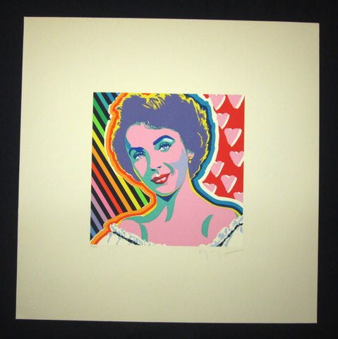 "This is a HUGE very beautiful and rare LIMITED-NUMBER (151/250) original Japanese Silk Screen Serigraph Print ""Elizabeth Taylor"" PENCIL SIGNED by the famous Showa Shin Hanga master Hiro Yamagata (1948-) made in 1980s with TWO EMBROIDERED MARKS IN EXCELLENT CONDITION."