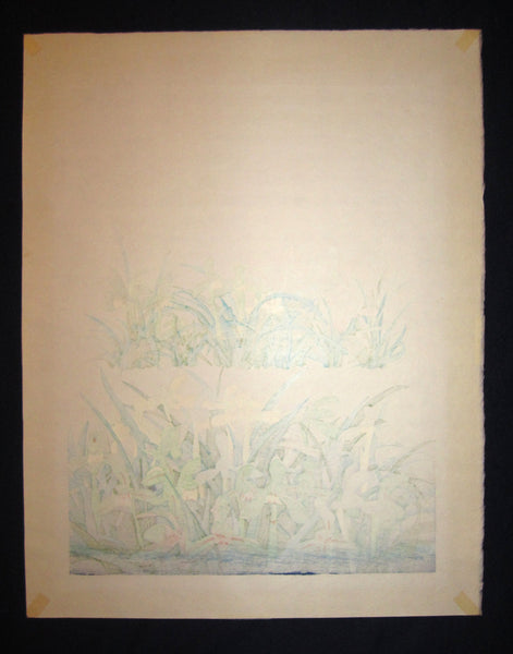 Original Japanese Woodblock Print Chizuko PENCIL SIGN Yoshida Orchids