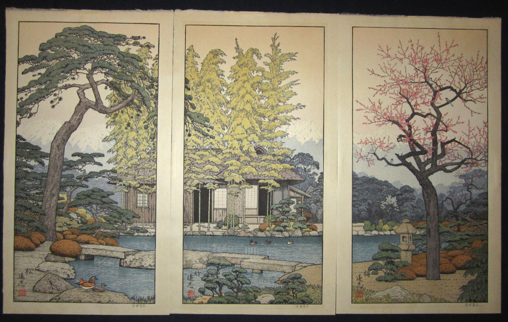 "This is a HUGEvery beautiful and special ORIGINAL Japanese woodblock print triptych ""Pine, Bamboo, and Plum"" signed by the famous Shin-Hanga woodblock print master Toshi Yoshida (1911-1995) made in 1980s IN EXCELLENT CONDITION."