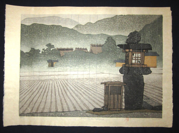 "This is an HUGE very beautiful and LIMITED NUMBER (62/100) ORIGINAL Japanese Shin Hanga woodblock print ""Amawaka no Harasame"" PENCIL SIGNED by the famous Showa Shin Hanga woodblock master Joshua Rome (1953-) made in 4/15/1981 IN EXCELLENT CONDITION."