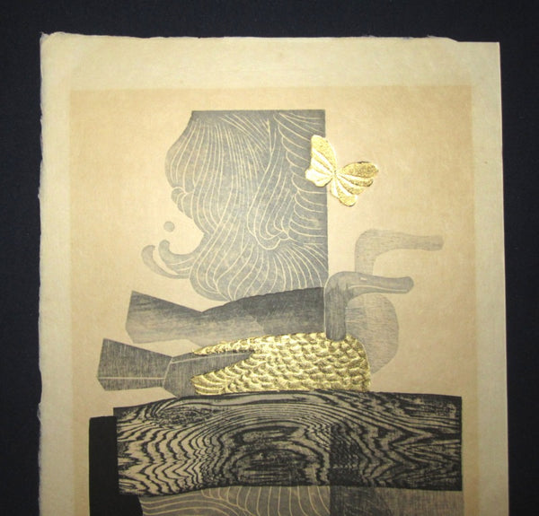 A Huge Orig Japanese Woodblock Print Limit# PENCIL Reika Iwami Water Dream Appointment C