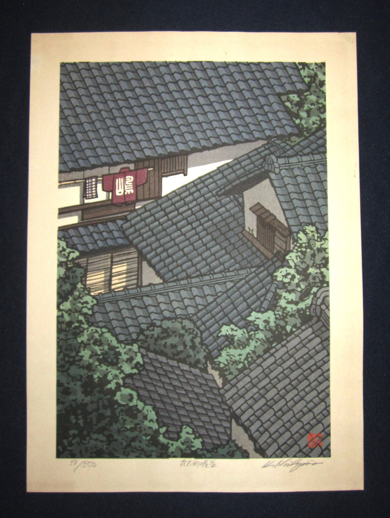 "This is a EXTRA LARGE, very beautiful and special LIMITED-NUMBER (58/500) ORIGINAL Japanese Shin Hanga woodblock print ""Roof"" PENCIL SIGNED by the famous Showa Shin Hanga woodblock print master Kazuyuki Nishijima (1945-) made in 1980s IN EXCELLENT CONDITION."