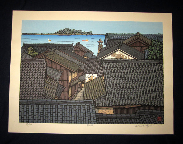 "This is a HUGE, very beautiful and special LIMITED-NUMBER (39/100) ORIGINAL Japanese Shin Hanga woodblock print ""Sea of Spring"" PENCIL SIGNED by the famous Showa Shin Hanga woodblock print master Kazuyuki Nishijima (1945-) made in 1980s IN EXCELLENT CONDITION."