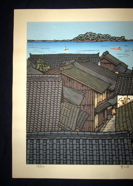 A HUGE Orig Japanese Woodblock Print LIMIT# PENCIL Sign Nishijima Kazuyuki Spring Sea
