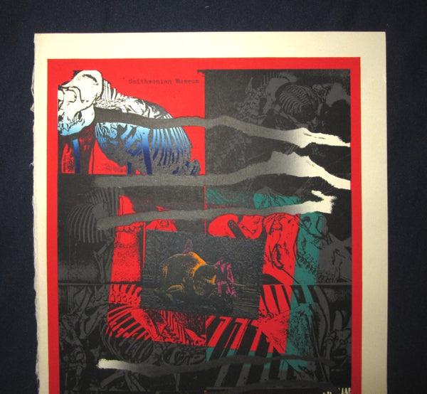 A Great Large Orig Japanese Woodblock Print LIMIT# PENCIL Sign Kurosaki Akira EMBROIDER MARK Smithsonian Museum
