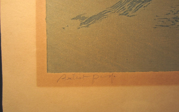 A Huge Orig Japanese Woodblock Print Kitaoka Fumio PENCIL Sign Limit# Biwase Fog 1974