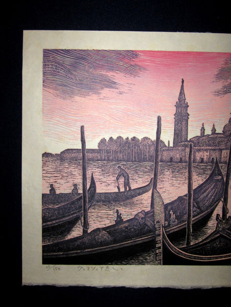A Great Orig Japanese Woodblock Print LIMIT# PENCIL SIGN Hiroshi Tomihari Venice Love Italy