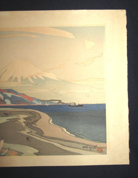 A Great Large Orig Japanese Woodblock Print Ishikawa Toraji Fuji from Miho in Spring 1934 with Water Mark