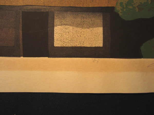 Great HUGE Orig Japanese Woodblock Print Limit# PENCIL Sign Masao Ido Sagano Mountain Gate 1983