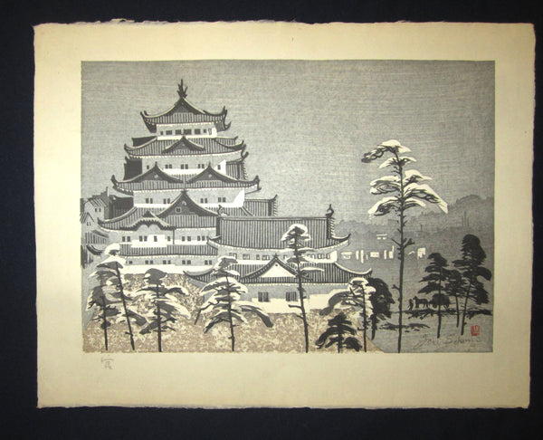 "This is a HUGE very beautiful and special original Japanese woodblock print ""Castle in Snow"" signed by the Famous Taisho/Showa Shin Hanga woodblock print artist Junichiro Sekino (1914 ~1988) made in 1980s IN EXCELLENT CONDITION."
