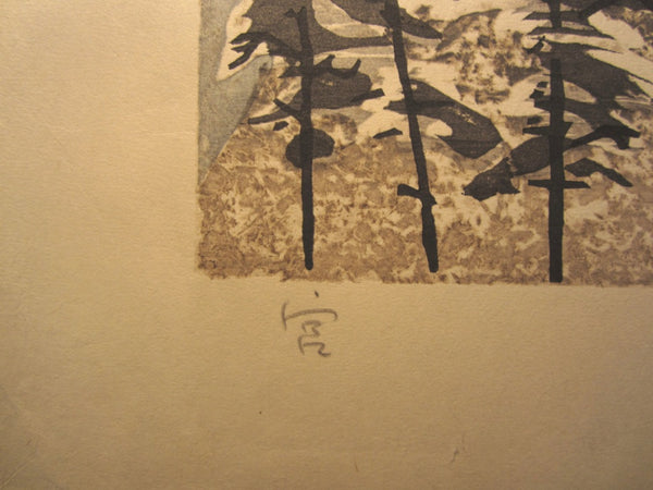A Huge Original Japanese Woodblock Print Junichiro Sekino Castle in Snow 1980s