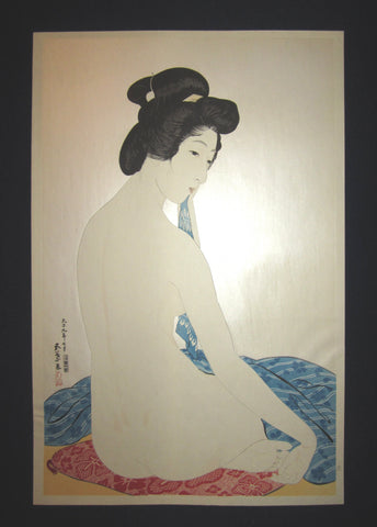 "This is AN EXTRA LARGE very beautiful and rare Japanese Shin Hanga woodblock print ""Nude Woman after Bath"" from the famous Shin-Hanga woodblock print artist Hashiguchi Goyo (1880-1921) published by the famous printmaker YuYuDo IN EXCELLENT CONDITION."