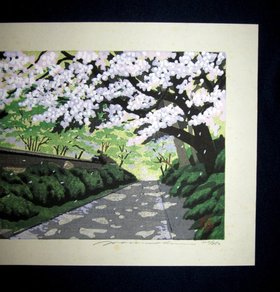 A HUGE Great Orig Japanese Woodblock Print Pencil Sign Limited#  Masado Ido Spring Cherry Blossom