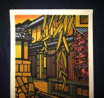 Huge Original Japanese Woodblock Print PENCIL Sign Limit# Clifton Karhu Takasegawa Fall