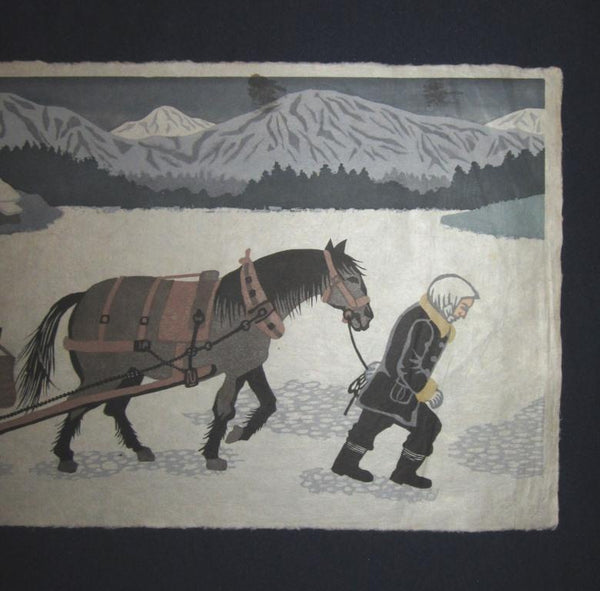 Huge Orig Japanese Woodblock Print Tohoru Shimizu Pencil Sign Limited Number Horse Snow 1970s