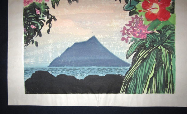 A Huge Orig Japanese woodblock Print Hashimoto Okiie Hawaii