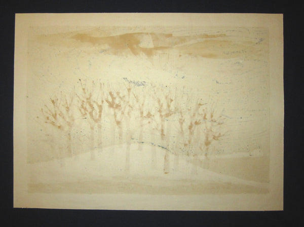 HUGE Orig Japanese Woodblock Print PENCIL Sign Limit# Tamami Shima Hayashi no Oka Hilly Forest