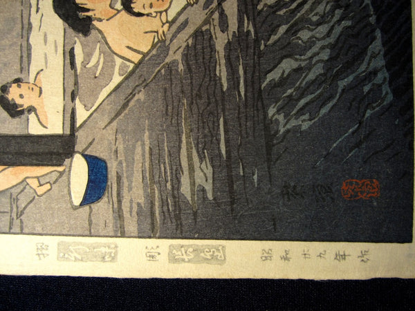 Orig Japanese Woodblock Print Shiro Kasamatsu Naruko Hot Spring Showa 29 (1954)