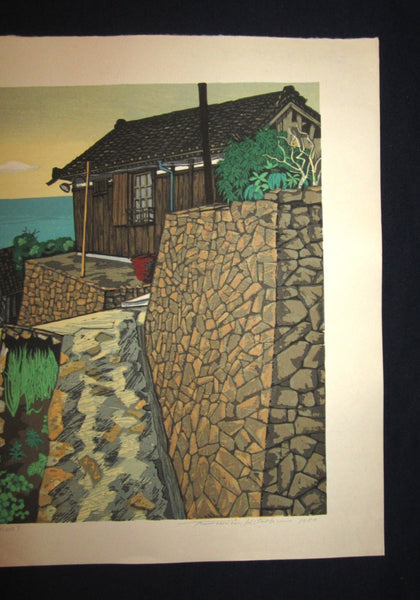 HUGE Orig Japanese Woodblock Print PENCIL Sign Limit# Kitaoka Fumio Ishigaki Fisherman Village