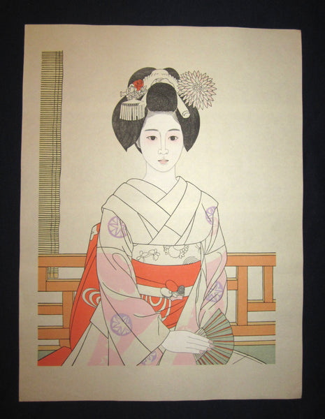 "This is a HUGE, beautiful, and special ORIGINAL Japanese Shin Hanga woodblock print ""Maiko"" from the famous Japanese Shin Hanga woodblock print Master Tateishi Harumi (1908 – 1994) made in Showa Era IN EXCELLENT CONDITION."