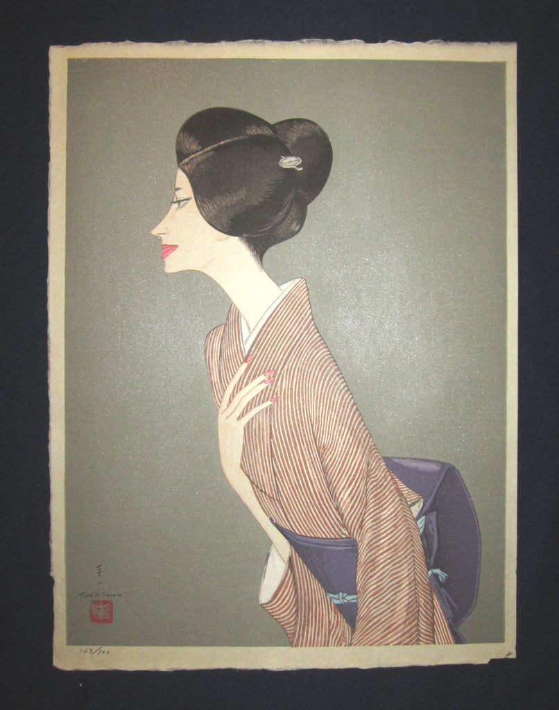 "This is an EXTRA LARGE, very beautiful and special pencil written LIMITED-NUMBER (129/300) original Japanese woodblock print ""Beauty Bijin"" PENCIL SIGNED BY the famous Shin-Hanga woodblock print master Takasawa Keiichi (1914-1984) made in 1960S IN EXCELLENT CONDITION."