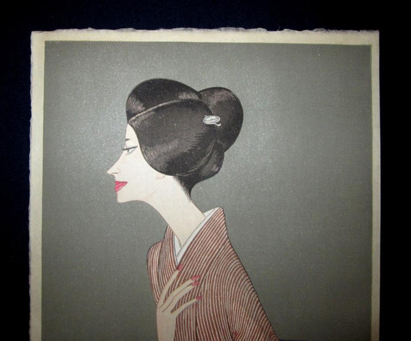 Orig Japanese Woodblock Print Takasawa Keiichi PENCIL Limit# Beauty Bijin-ga