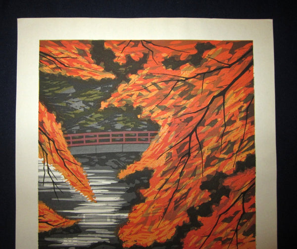 Huge Original Japanese Woodblock Print Pencil-Signed Limited-Number Fujita Fumio Maple Autumn (2)