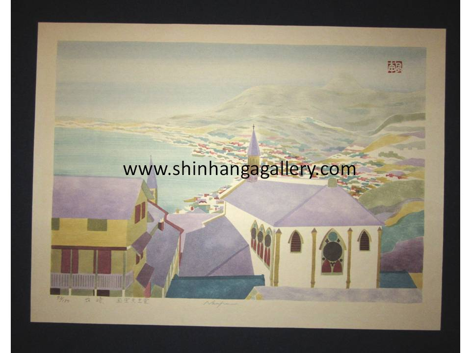 "This is a HUGE very beautiful, special and LIMITED-NUMBER (73/150) ORIGINAL Japanese woodblock print ""Nagasaki Cathedral"" from the series of Nagasaki Scenery Pencil-Signed by the famous Showa Shin Hanga woodblock print master Fujita Fumio (1917-1995) made in 1980s IN EXCELLENT CONDITION."