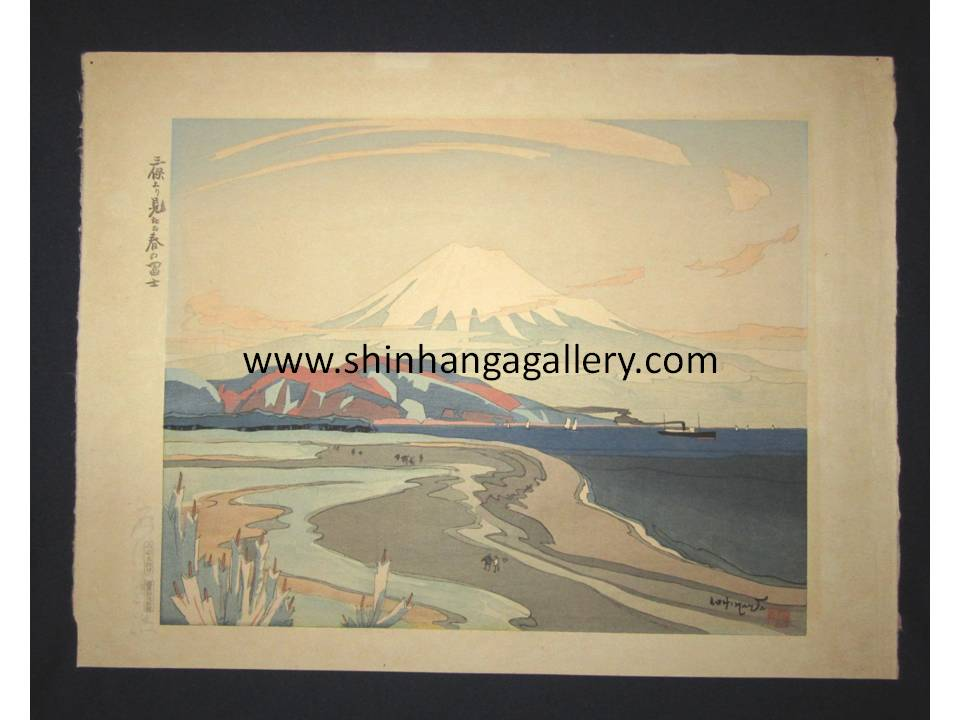 "This is an EXTRA LARGE very beautiful and special original Japanese woodblock print ""Fuji from Miho in Spring"" signed by the Famous Taisho/Showa Shin Hanga woodblock print artist Ishikawa Toraji (1875 ~1964) made in 1934 IN EXCELLENT CONDITION with artist's ORIGINAL WATER MARK."
