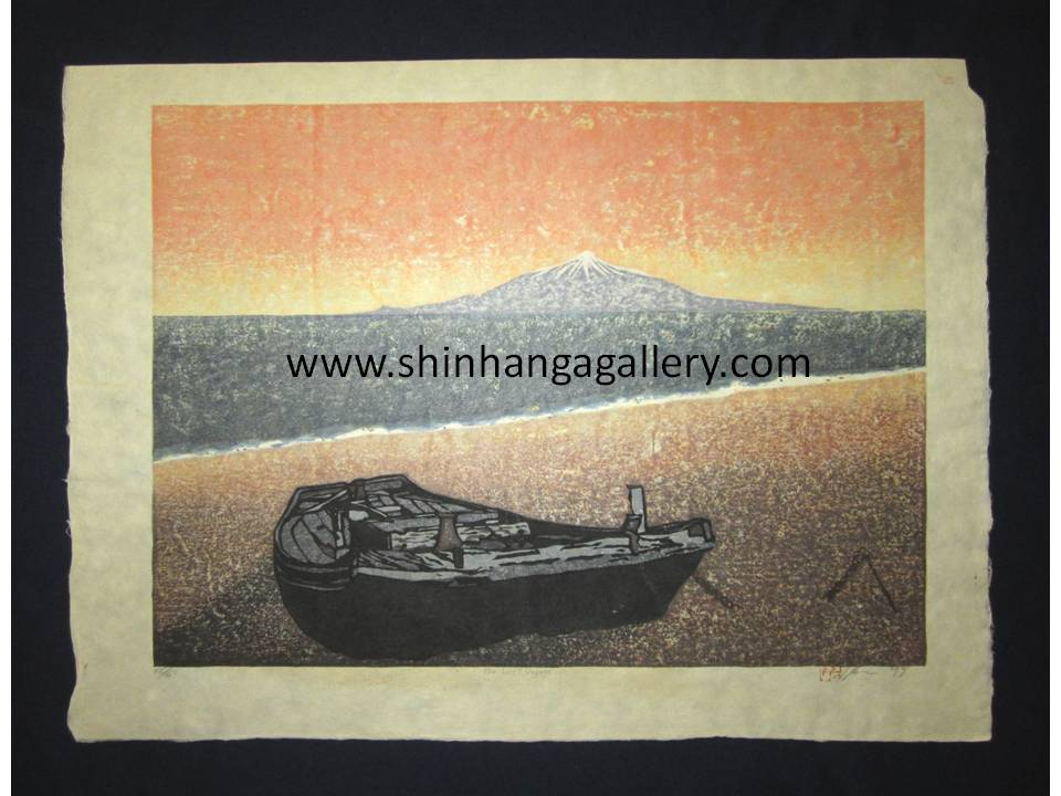 "This is an HUGE very beautiful and LIMITED NUMBER (46/50) ORIGINAL Japanese Shin Hanga woodblock print ""The Last Voyage"" PENCIL SIGNED by the famous Showa Shin Hanga woodblock master Joshua Rome (1953-) made in 1999 IN EXCELLENT CONDITION."