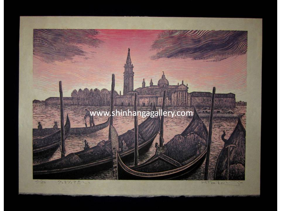 "This is an EXTRA LARGE, very beautiful, and special LIMITED-NUMBER (25/125) original Japanese woodblock print ""Love of Venice Italy"" PENCIL SIGNED by the famous Modern Japanese woodblock print Master Hiroshi Tomihari (1936 -) made in 2001 IN EXCELLENT CONDITION."