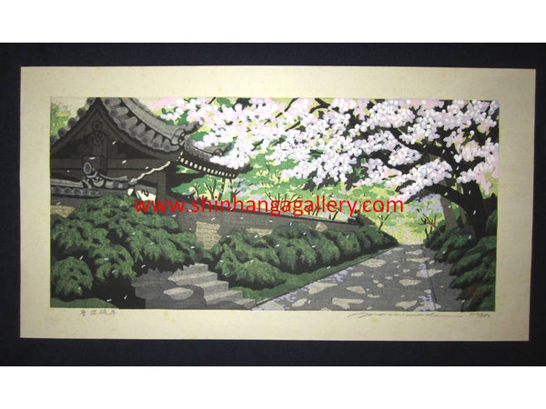 "This is a HUGE very beautiful, special and LIMITED-NUMBER (320/850) original Japanese woodblock print ""Spring Cherry Blossom"" from his famous ""Four Seasons"" series Pencil-Signed by the famous Showa Shin Hanga woodblock print master Masado Ido (1945-2016) made in 1980s."