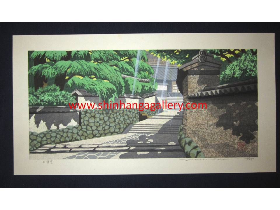 "This is a HUGE very beautiful, special and LIMITED-NUMBER (320/850) original Japanese woodblock print ""Summer Green"" from his famous ""Four Seasons"" series Pencil-Signed by the famous Showa Shin Hanga woodblock print master Masado Ido (1945-2016) made in 1980s IN EXCELLENT CONDITION."