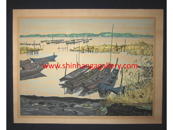 "This is a HUGE very beautiful LIMITED NUMBER (36/120) ORIGINAL Japanese Shin Hanga woodblock print ""Winter at Lake Inbanuma "" PENCIL SIGNED by the famous Showa Shin Hanga woodblock master Kitaoka Fumio (1918-) made in 1979 IN EXCELLENT CONDITION."