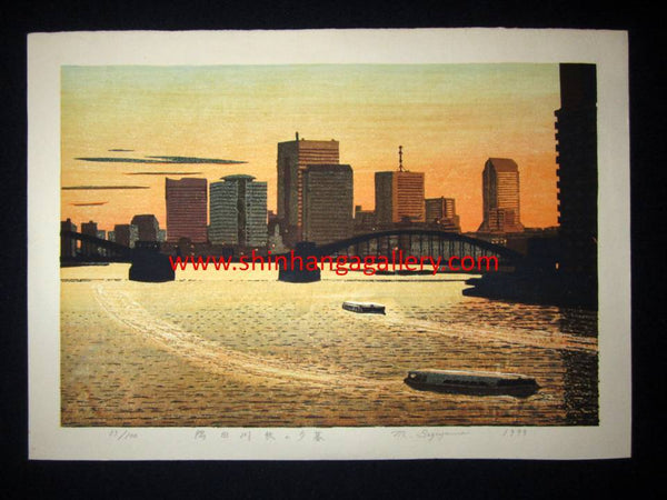 "This is an EXTRA LARGE very beautiful and original LIMITED NUMBER(33/100) Japanese Shin Hanga woodblock print ""Autumn Dusk at Sumida River"" PENCIL SIGNED by the famous Showa Shin Hanga woodblock master Motosugu Sugiyama (1925-) made in 1999."