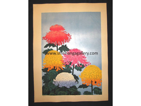 "This is a HUGE very beautiful, and special LIMITED-NUMBER (48/100) ORIGINAL Japanese Shin Hanga woodblock print ""Big Chrysanthemums"" PENCIL SIGNED by the famous Japanese Shin Hanga woodblock print Master Hayashi Waichi (1951 -) made in 1980s IN EXCELLENT CONDITION."