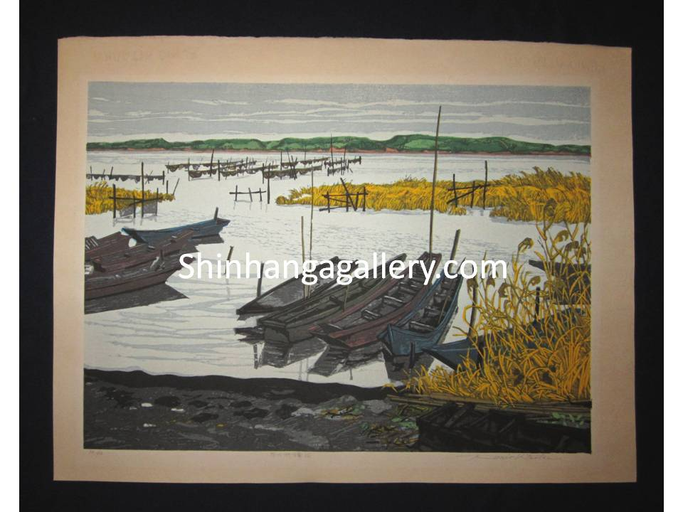 "Japanese woodblock print ""Winter at Inbauma Shikubinuma "" SIGNED by  Kitaoka Fumio in 1970s"