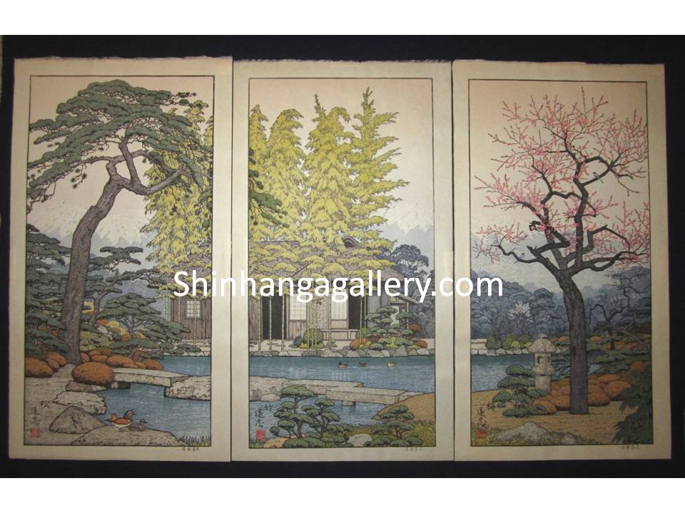"ORIGINAL Japanese woodblock print triptych ""Pine, Bamboo, and Plum"" signed by  Toshi Yoshida (1911-1995) made in 1980s IN EXCELLENT CONDITION."