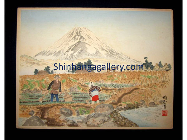 """Mt. Fuji from Sano Village"" from the series of ""Twenty-five Views of Mt. Fuji"" signed by Jokata Kaiseki (1882 - 1966) made in 1929"