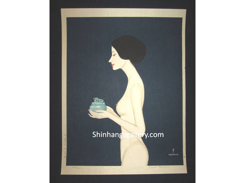 "This is a HUGE, LIMITED-NUMBER (219/470), very beautiful and special ORIGINAL Japanese woodblock print ""Nude Incense Burner"" PENCIL SIGNED BY the famous Shin-Hanga woodblock print master Takasawa Keiichi (1914-1984) made in 1970s IN EXCELLENT CONDITION."